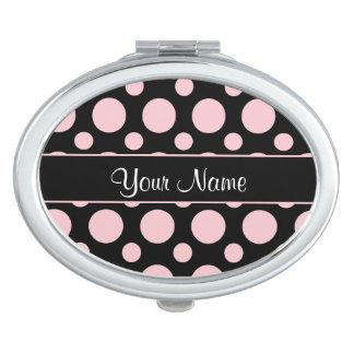 Pink Polka Dots On Black Background Vanity Mirrors