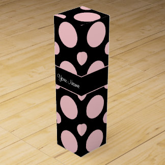 Pink Polka Dots On Black Background Wine Box