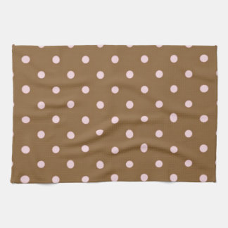 Pink Polka Dots On Brown Background Kitchen Towel