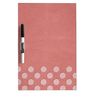 Pink Polka Dots on Coral Leather Print Dry Erase White Board