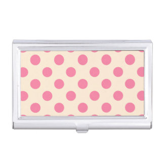 Pink polka dots on cream business card cases