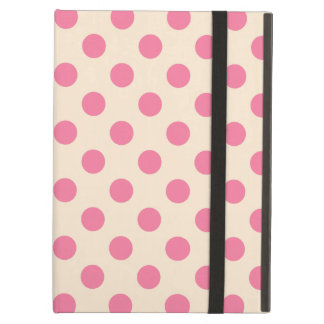 Pink polka dots on cream cover for iPad air