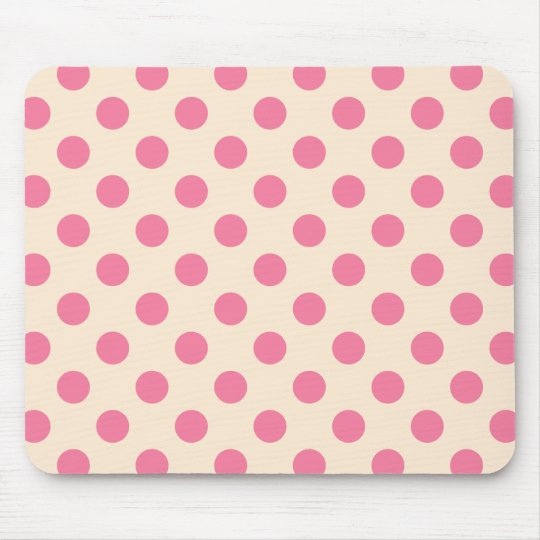 Pink polka dots on cream mouse pad