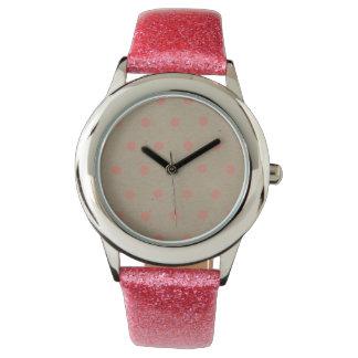 Pink Polka Dots on Natural Vintage Speckled Beige Wrist Watch