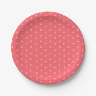 Pink Polka Dots on Red 7 Inch Paper Plate