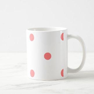 Pink Polka Dots on White Coffee Mug