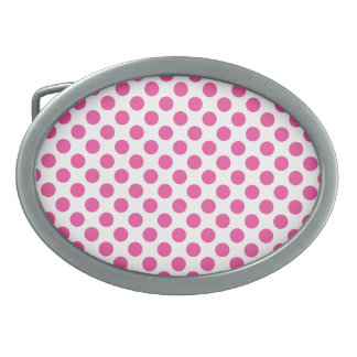 Pink Polka Dots Oval Belt Buckles