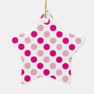 Pink polka dots pattern ceramic ornament