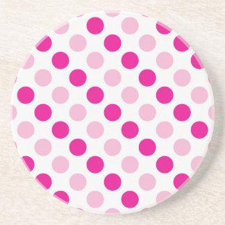 Pink polka dots pattern coaster
