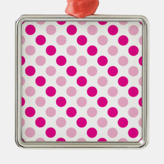 Pink polka dots pattern metal ornament