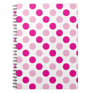Pink polka dots pattern notebooks