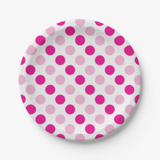 Pink polka dots pattern paper plate