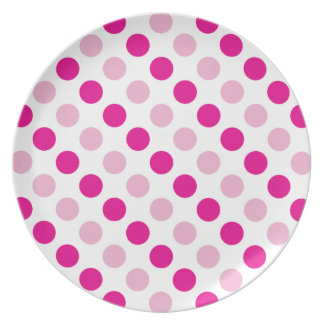 Pink polka dots pattern plate
