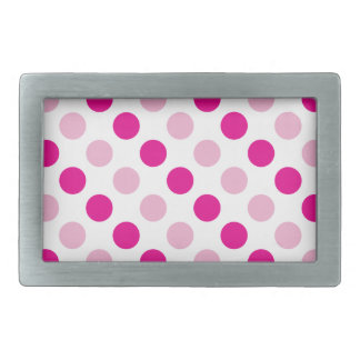 Pink polka dots pattern rectangular belt buckle
