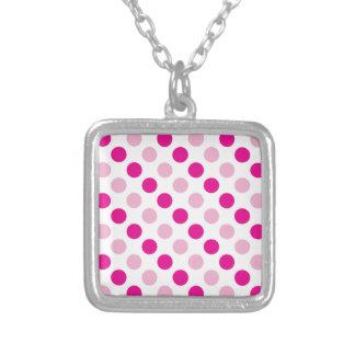 Pink polka dots pattern silver plated necklace