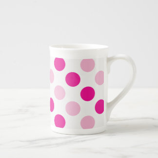 Pink polka dots pattern tea cup
