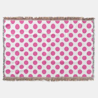 Pink Polka Dots Throw Blanket