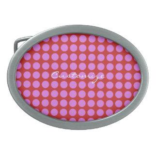 pink polka dots Thunder_Cove Oval Belt Buckle