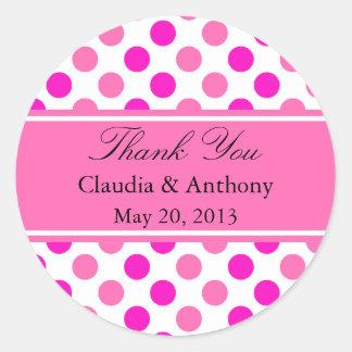 Pink Polka Dots Wedding Thank You Classic Round Sticker