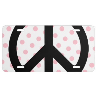 Pink Polka Dots with Black Peace Symbol License Plate