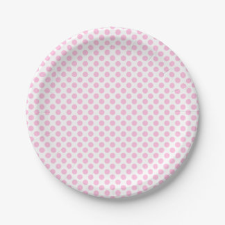 Pink Polka Dots with Customizable Background 7 Inch Paper Plate