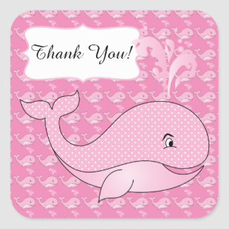 Pink Polka Dotted Baby Whale | DIY Text Square Sticker