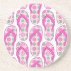 Pink polka dotted flip flop design coaster