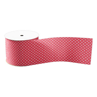 Pink Polka hearts Grosgrain Ribbon