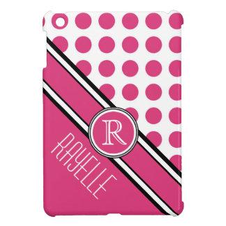 Pink Polkadot Diagonal Monogram and Name iPad Mini Cover