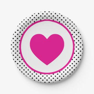 Pink Polkadot Heart Paper Plate
