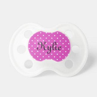 Pink polkadot monogram baby girl pacifier