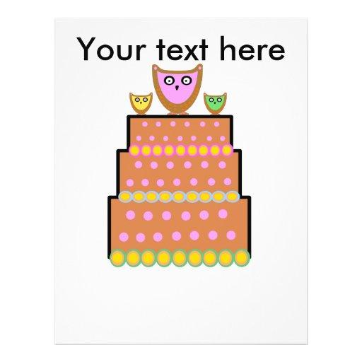 Pink polkadot owl cake custom flyer