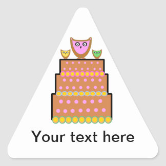 Pink polkadot owl cake triangle stickers