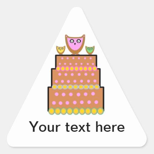 Pink polkadot owl cake triangle stickers