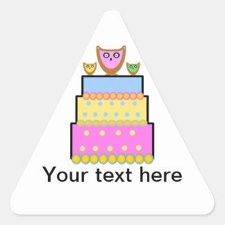 Pink polkadot owl cake stickers