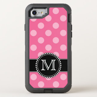 Pink Polkadot, Personalized, Monogrammed Defender OtterBox Defender iPhone 8/7 Case