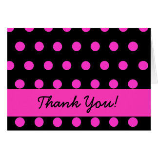 Pink Polkadot thank you Card