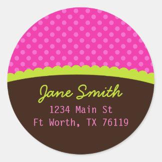 Pink Polkadots Address Sticker Image