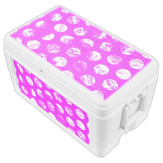 pink  polkadots square ice chest
