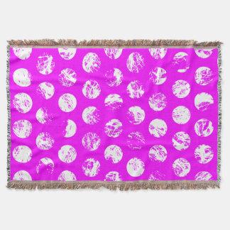 pink  polkadots square throw blanket