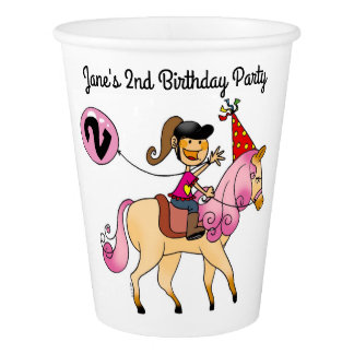 pink pony 2nd birthday girl party paper cup
