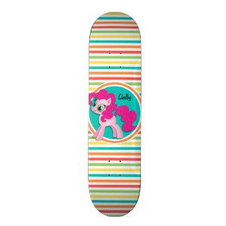 Pink Pony; Bright Rainbow Stripes Skateboards