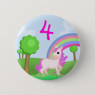 Pink Pony in Colourful Fields Child's Age Badge 2 Inch Round Button