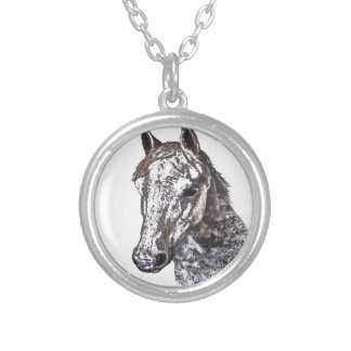 pink pony silver plated necklace