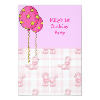 """Pink Poodle 1st Birthday Party Balloons 3.5"""" X 5"""" Invitation Card"""
