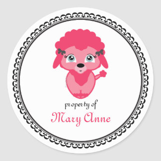 pink poodle BOOKPLATE book label