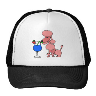 Pink Poodle Drinking Daiquiri Trucker Hat