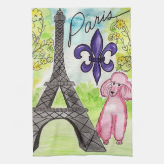 Pink Poodle in Paris Hand Towels