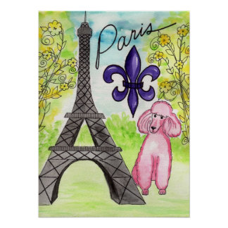 Pink Poodle in Paris poster