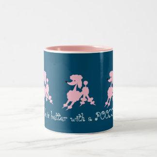 Pink Poodle Lovers Two-Tone Coffee Mug